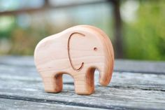 Eco friendly Wooden baby teether ELEPHANT ecological by Mwoodshop, $12.00