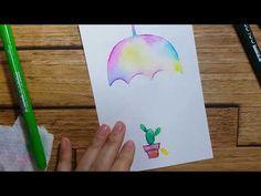 ❤수성싸인펜을 이용한 캘리엽서/우산 - YouTube Videos, Watercolor Tattoo, Painting, Colour, Youtube, Pen And Wash, Color, Painting Art, Paintings