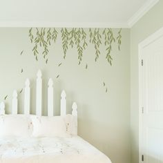 Pretty falling willow leaves and branches decal for a bedroom wall | Wallums