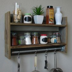 Industrial Rustic Reclaimed Wood Wall Shelf Spice Rack with Towel Bar / Pot Rack + Stainless Steel Hooks Spice Rack Wall Shelf, Kitchen Spice Racks, Kitchen Shelves, Spice Storage, Kitchen Storage, Rustic Wall Shelves, Wood Wall Shelf, Floating Shelves, Deep Shelves