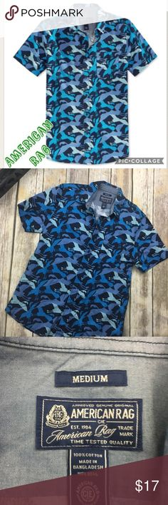 American Rag Blue Flamingo Print Button Up Men's blue Flamingo Print Button down shirt. Size medium. New without tag. Has 1 front pocket. No flaws. American Rag Shirts Casual Button Down Shirts