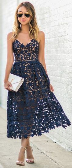 #fall #trending #outfits | Navy Lace Midi Dress