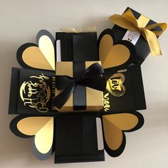 Explosion box with big gift box with 8 waterfall in black and gold, Design & Craft, Others on Carousell Big Gift Boxes, Exploding Gift Box, Paper Flower Tutorial, Fun Wedding Invitations, Explosion Box, Birthday Presents, Design Crafts, Boyfriends, Paper Flowers