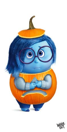 How cute is Sadness from Inside Out dressed as a pumpkin?! Happy Halloween!!