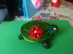 tortuguita   joyero hecho con papel
