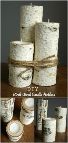 DIY Farmhouse Decor Ideas - 41 Rustic Decorating Projects for Home - DIY Farmhouse Style Decor Ideas – Birch Wood Candle Holders – Rustic Ideas for Furniture, Paint - Diy Fest, Wood Crafts, Diy Crafts, Fall Crafts, Old Wooden Boxes, Wooden Diy, Pallet Wall Art, Diy Living Room Decor, Home Decor