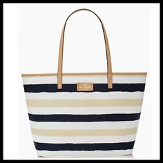 Kate Spade Bondi Road Medium Harmony Kate Spade presents this year's hottest colors.....Navy and Cream, in a traditional stripe tote for either over the shoulder, or on the arm.  NWT. No holds or trades, complete list of features and dimensions in pic#3.  Stock photos courtesy of KSNY.com. kate spade Bags Totes