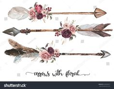 Watercolor ethnic boho set of arrows feathers and flowers native american tribe decoration print element tribal navajo isolated illustration bohemian ornament Indian Peru Aztec wrapping. Indian Arrow Tattoo, Feather Arrow Tattoo, Watercolor Arrow Tattoo, Small Arrow Tattoos, Arrow Tattoo Design, Feather Tattoos, Tattoos For Women Small, Flower Tattoos, Native American Arrow Tattoo