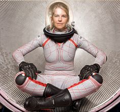 Dava Newman models the Bio Suit, a cosmic skin for space travel.