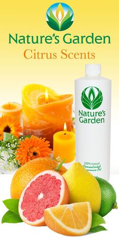Citrus Fragrance oils from world famous, Natures Garden. These Fragrances are typically used to make candles, soap, room scent, and cosmetics. #CitrusScents
