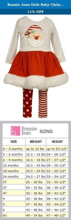 "Bonnie Jean Girls Baby Christmas Santa Pettiskirt and Leggings Set (6-9 Months, Multi). Show the love for Santa and earn that spot on the ""nice list"" in style*. Your little girl will jump right into the holiday spirit with this charming red and white pettiskirt and leggings outfit. The pettiskirt features a white top with a Santa Claus applique on the front and a red skirt with faux fur trim. The leggings have one polka dot leg and one striped leg. This Bonnie Jean Santa Set is ideal for..."
