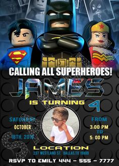 lego batman invitations with photo lego birthday invitations lego Welcome to Best Birthday Party This is a s Lego Batman Movie Birthday invitation will be a perfect addition to celebrate Lego Batman Invitations, Spiderman Birthday Invitations, Lego Batman Birthday, Lego Batman Party, Paw Patrol Birthday Invitations, Superhero Birthday Party, Printable Birthday Invitations, Invite