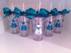 Personalized Set of 5 Acrylic Tumblers- Bridal party. $60.00, via Etsy.