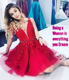 posts of Feminine Feelings to have fun with Male To Female Transgender, Transgender Mtf, Floral Applique Dress, Girly Girl Outfits, Male To Female Transformation, Casual Dresses, Girls Dresses, Flare Dress, Pretty Dresses