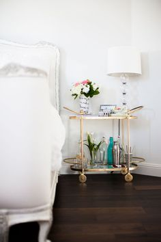 { bar cart as nightstand }