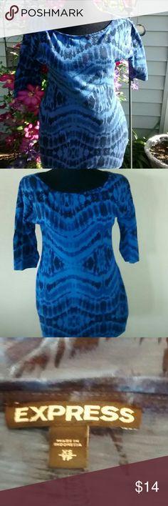 "I've got the blues Blue tie dye, measures 25"" from armpit to bottom hem. Express Tops Tunics"