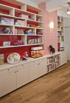 Wall storage for playroom   Doable in the closet.