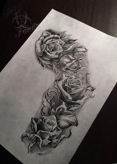 Untitled by on deviantart right arm flower tatt Rose Drawing Tattoo, 1 Tattoo, Tattoo Sketches, Tattoo Drawings, Skull Rose Tattoos, Rose Flower Tattoos, Body Art Tattoos, Tattoo Sleeve Designs, Flower Tattoo Designs