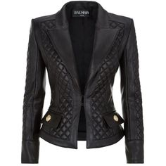 Balmain Quilted Leather Jacket found on Polyvore featuring polyvore, women's fashion, clothing, outerwear, jackets, blazer, balmain, coats & jackets, diamond quilted jacket and balmain blazer