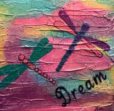 Mixed Media on wood by Lisa Fontaine.  Dragonflies.  Dream.  Crackle.