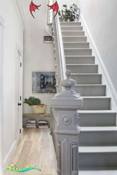Staircase Photos Contemporary Staircase: A painted gray staircase..<br> A painted gray staircase. Staircase Design, Rustic Living Room Design, Painted Staircases, House Stairs, Edwardian House, Hallway Designs, Basement Design, Entryway Wall Decor, Stair Decor