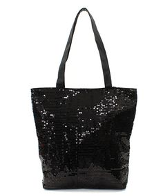 Sequined Ashley Tote in Black