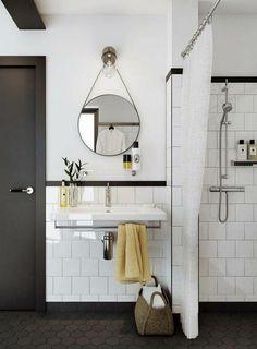 lavabo vintage, miroir rond et peinture blanche