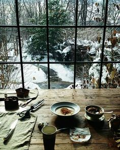 Morning breakfast overlooking a wintry woodland scene.