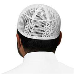 White Cotton Knitted Kufi with Muslim Prayer Mens Skull Cap - 21 inch