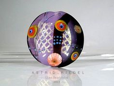 Lilac and Gold mesh Dichroic glass lampwork glass focal bead-  37mm Focal bead- lampwork by Astrid Riedel