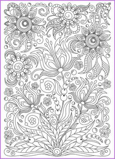 Abstract Doodle Flowers Zentangle Coloring Pages For Adults Detailed Advanced Printable PDF By ZentangleHouse