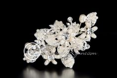 Wedding Clip of Filigree Flowers and Ivory Pearls
