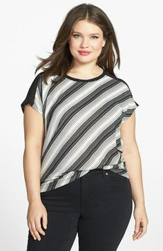 Two by Vince Camuto Mixed Media Top (Plus Size) available at #Nordstrom