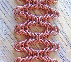 Copper Byzantine Waves Chainmaille Bracelet by shazzabeth on Etsy