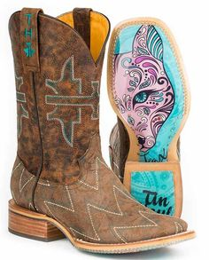 Tin Haul Ladies Zig Zag Sly Fox Sole Square Toe Boots | cowgirl boots, Western boots, Chevrons, foxy, obvious sole