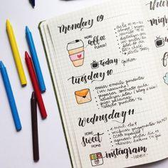 Pequenos desenhos temáticos dão uma graça extra para as tarefas diárias. | 15 diários em tópico da vida real para te inspirar a começar um
