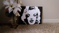 Marilyn Monroe's Face Silhouette 11x14 Hand Painted Acrylic Painting on Hard Canvas Panel #canvaspanel #canvas #acrylicpaint #minimalist #acrylic