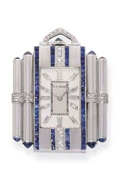 AN ART DECO GEM-SET PENDANT WATCH, BY C. H. MEYLAN The rectangular silvered dial with diamond baton makers to the French-cut sapphire and diamond lines flanked by cylindrical columns with rose-cut sapphire terminals, lever movement, circa 1920.
