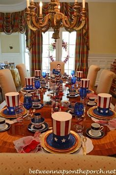 4th of July Table Setting Tablescape in Red, White & Blue by heather