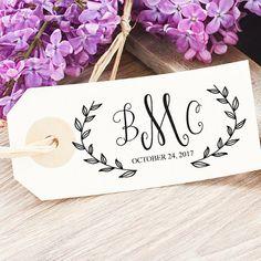 Custom Wedding Logo - Spring Wedding Monogram Stamp - Personalized Wedding Stationery - Greenery Wedding Favors - Wreath Wedding Logo Design