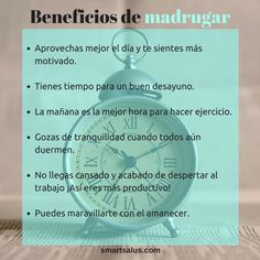 ¿Mañana madrugas? Mira el lado positivo... ¡Estos son algunos beneficios de madrugar! ☀ #Buenosdías #HazSmartSalus