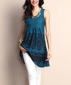 Another great find on #zulily! Emerald Lace-Print Sleeveless Empire-Waist Tunic Dress #zulilyfinds