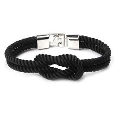 Rope Infinity Bracelet Charm Jewelry Outfit Accessories From Touchy Style. Charm Bracelets For Girls, Cheap Bracelets, Pandora Bracelets, Bracelets For Men, Sterling Silver Bracelets, Fashion Bracelets, Rope Bracelets, Silver Earrings, Black Jewelry