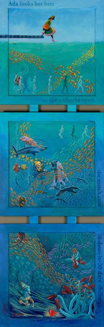 "NJ Busse Fine Art: Whimsical Art, Ocean Animal, Contemporary Figure Painting,""Ada Looks Her Best"" by Colorado Artist Nancee Jean Busse"