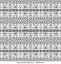 Striped hand painted vector seamless pattern with ethnic and tribal motifs, zigzag lines, brushstrokes paint in monochrome colors. Vector seamless pattern hand drawn. Repeating geometric mesh tiles