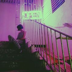 Playing cards under the stairs // g strings and neon lights #latenight #trashbyrd #nocturnalbyrd #ladyofthenight #neonlights