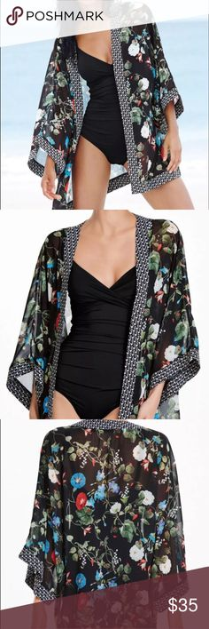 "2 LEFT❤ Floral Bikini Cover Up Chiffon Floral Black Bikini Cover Up. Measurements: Length 33"" Width: 46"" Sleeves 21"" from neck. SoChic Swim Coverups"
