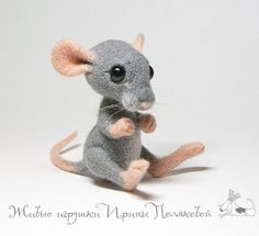 Cute Needle felted project wool animals ted mouse(Via @irina_polly)