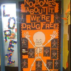 """No bones about it, we're drug free"" for red ribbon week  The students made their own skeletons with q-tips and glued red ribbons on them."