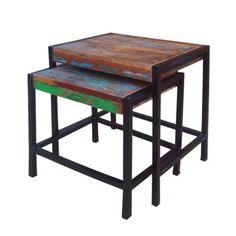 Zweisatztisch im Shabby Chic Design Holz (2-teilig)